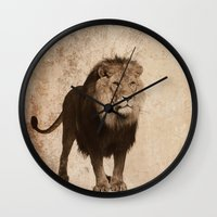 decal Wall Clocks featuring Lion by haroulita