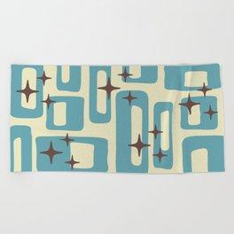 Retro Mid Century Modern Abstract Pattern 577 Blue Brown Beach Towel