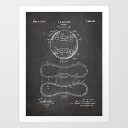 Baseball Patent - Softball Art - Black Chalkboard Art Print