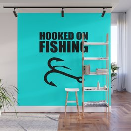 Hooked on fishing sports logo Wall Mural