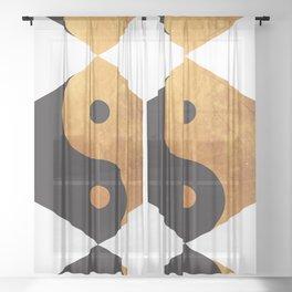Yin Yang Geometrical Zen Meditation Yoga Gold Black Balance Minimalist   Sheer Curtain
