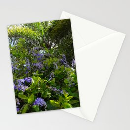 Tropical flowers and palm Stationery Cards