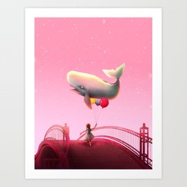 Whale and balloons - Pink Art Print