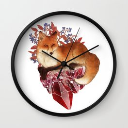 Red Fox and Ruby Wall Clock