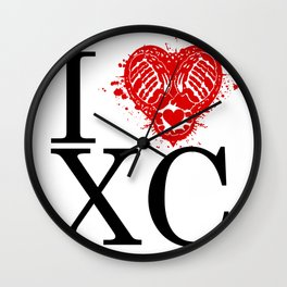 I Heart Cross Country Wall Clock