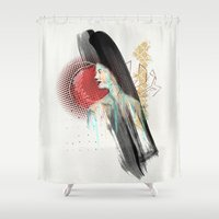 hamburger Shower Curtains featuring She Misses Her Hamburger Hobo by Trey Crim