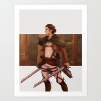 attack on titan Art Prints featuring Haikyuu!! Attack on Titan Crossover: Captain Asahi by JBadgr