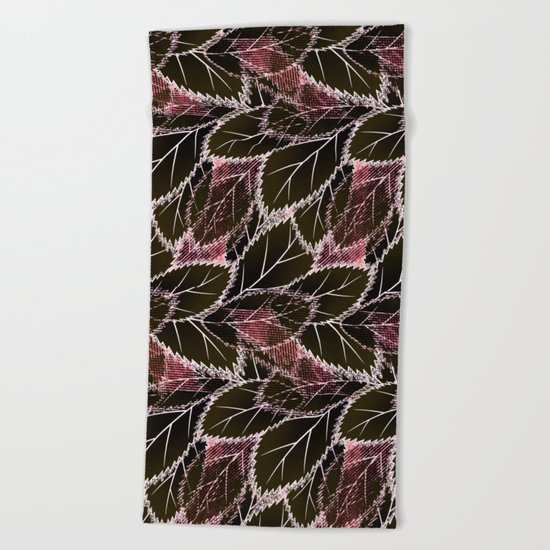 Bright leaves on a black background. Beach Towel