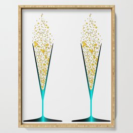 V Shaped Champagne Glasses Serving Tray