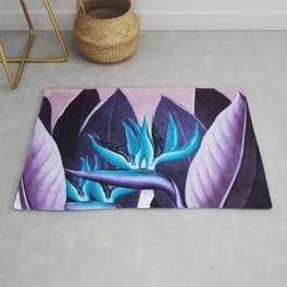 Birds of Paradise Temple of Flora Purple Turquoise Rug