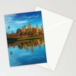 Sky Blue Day at Angkor Wat Buddist Temple, Cambodia by Lor Teng Huy Stationery Cards