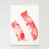 eric fan Stationery Cards featuring Red by Eric Fan & Garima Dhawan by Garima Dhawan