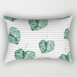 Banana Leaf Pattern and Minimal Black and White Stripes Rectangular Pillow