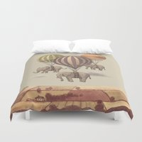 blue Duvet Covers featuring Flight of the Elephants  by Terry Fan