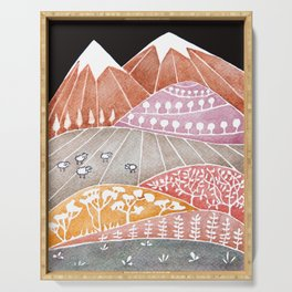 Tatry mountains, sheep watercolor landscape nature Serving Tray