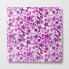 Deep Floral Pink Metal Print