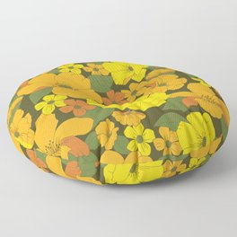Orange & Yellow Lilies Retro Floral Pattern Floor Pillow