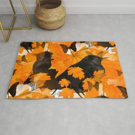 Beautiful Autumn Blackbirds with butterflies and Orange Maple Leaves #decor #society6 #buyart Rug