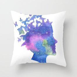 Galaxy Butterfly Girl Watercolor Throw Pillow