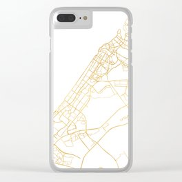 DUBAI UNITED ARAB EMIRATES CITY STREET MAP ART Clear iPhone Case