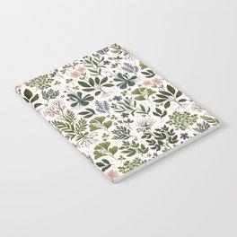 Herbarium ~ vintage inspired botanical art print ~ white Notebook