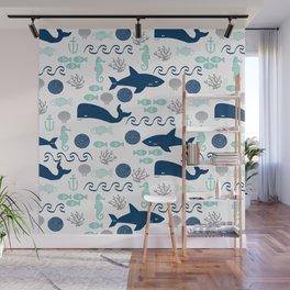 Nautical ocean animals sharks whales seahorses wave pattern sea life Wall Mural