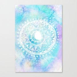 Watercolor Moon Mandala Canvas Print