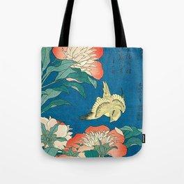 Katsushika Hokusai Peonies and Canary 1834 Tote Bag