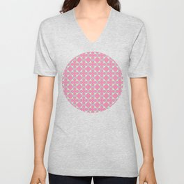 Soft Quatrefoil Pattern in Pink, Yellow & Green Unisex V-Neck