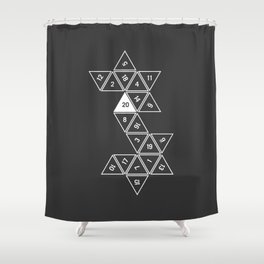 Unrolled D20 Shower Curtain