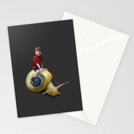 Boy on a snail Stationery Cards