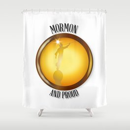 Mormon And Proud Button Shower Curtain