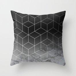 Silver Geometric Cubes Trendy White Grey Marble Throw Pillow