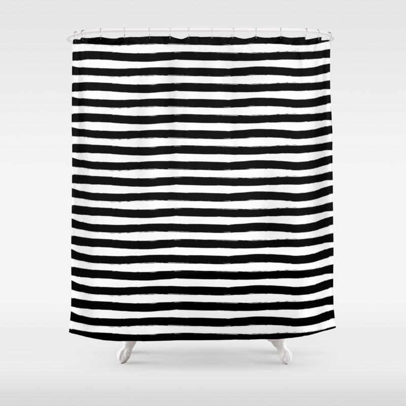 Black And White Hand Drawn Horizontal Stripes Shower Curtain