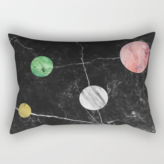 Black Marble with Polka Dots Rectangular Pillow