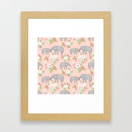Elephants pattern blush pink pastel with florals cute nursery baby animals lucky gifts Framed Art Print