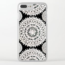 Black and Metallic White Floral Textile Mandala Clear iPhone Case