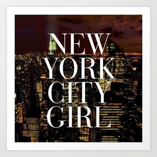 New York City Girl Manhattan Skyline Art Print