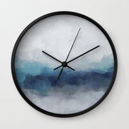 Indigo Navy Ocean Horizon, Sky Gray Blue Abstract Nature Ocean Rainy Cloudy Sunrise Water Art Print Wall Clock