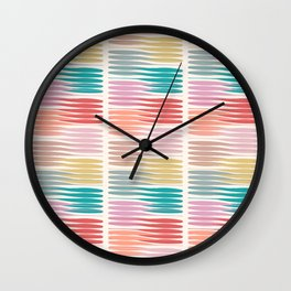 Summer Stripes Brushes Texture Line Art Style 2 Wall Clock