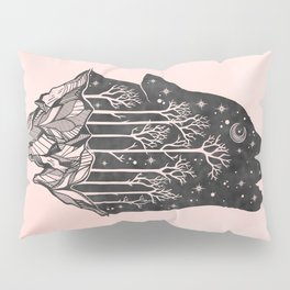 Adventure Wolf - Nature Mountains Wolves Howling Design Black on Pale Pink Pillow Sham