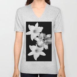 White Lilies on Black #1 #floral #decor #art #society6 Unisex V-Neck