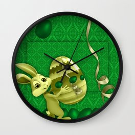 easter green background eggs Wall Clock