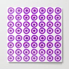 Evil Eye Amulet Talisman in Purple on White Metal Print