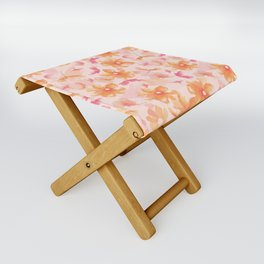 Pink Coral Floral Folding Stool