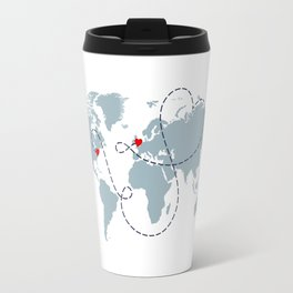 Long Distance World Map - UK to New York Travel Mug