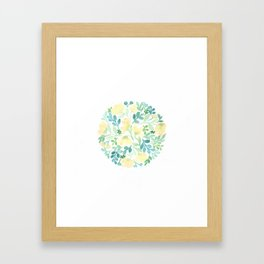 Yellow and Blue Floral Circle Framed Art Print