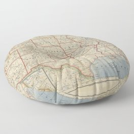 Old and Vintage Map of every States of The United States Of America Floor Pillow