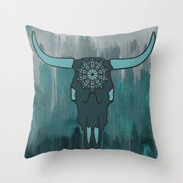 Steer Skull Mandala Throw Pillow