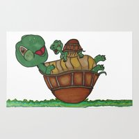 turtles Area & Throw Rugs featuring Turtles by BNK Design